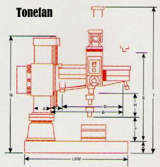 Máy khoan cần 5HP 55mm TF-1300H Tonefan Đài Loan